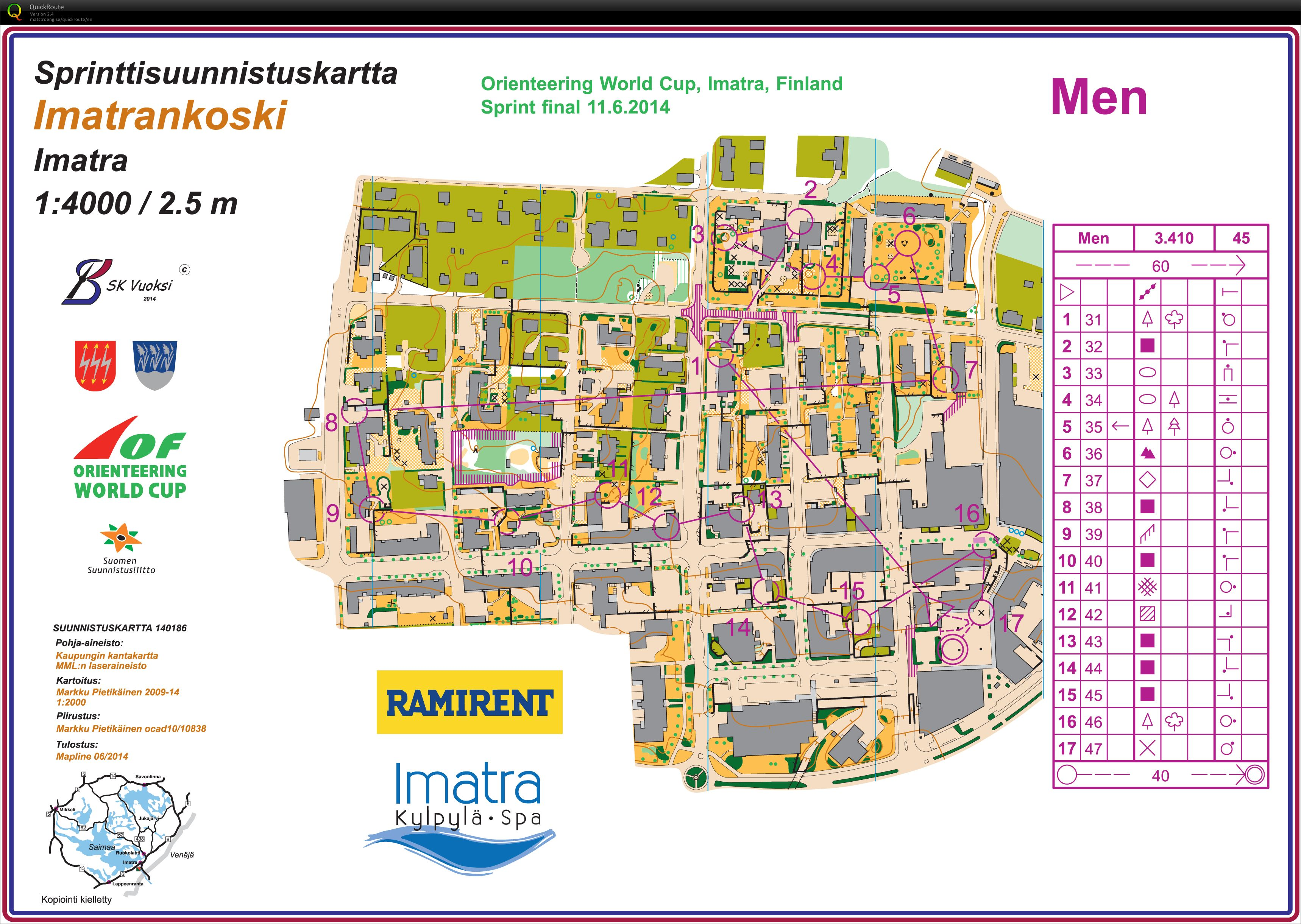 WC Sprint Imatra June 11th 2014 Orienteering Map from Torgeir